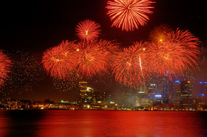 Western Australia, Perth, Australia Day Celebrations, Spectacular fireworks over the business district Architecture Australia Australia Day Celebrations Celebration City Cityscape Color Image Countdown Event Exploding Firework - Man Made Object Firework Display Horizontal Illuminated Multi Colored Night No People Outdoors Perth Reflection Sky Skyscraper Urban Skyline Water
