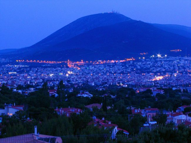 city at dusk Night Lights Urban Landscape Urban Photography City Lights City At Night Athens, Greece City At Dusk Architecture City Mountain Illuminated Blue Cityscape Winter Purple Sky