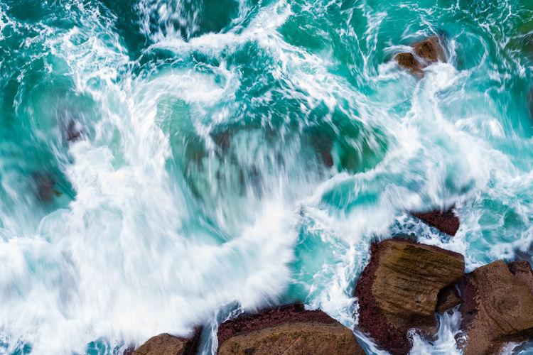 Panoramic view of sea waves
