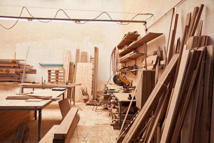 Planks in workshop