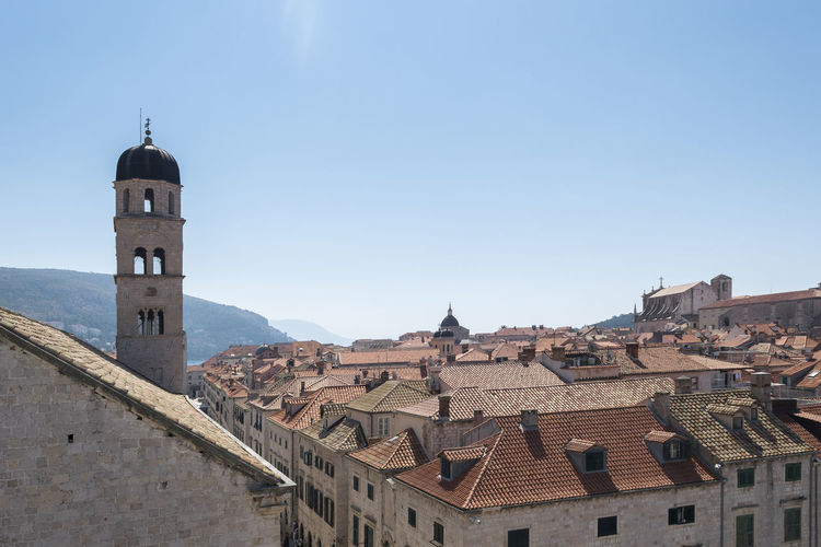 Church Tower Cityscape Dubrovnik, Croatia Rooftop Architecture Building Exterior Built Structure Clear Sky History