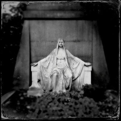 Contemplation Don't Blink Sculpture Graveyard Beauty