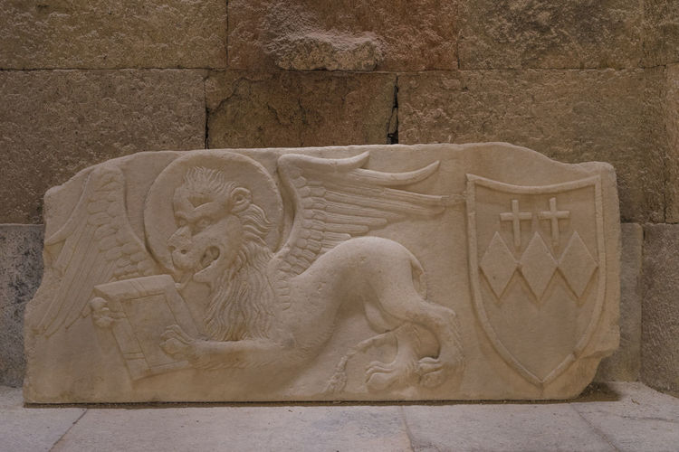 Carving of the Arms of the Crispi family, next to the lion of St Mark, Archaeology Museum, Rhodes, Greece Crispi Family Crispi Family Arms Lion Of St Mark Ancient Ancient Civilization Bas Relief History No People Sculpture