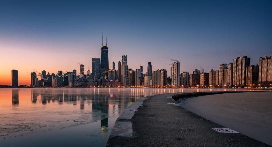Chicago waterfront by lake michigan during sunset