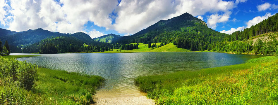 Panoramic photo of lake Spitzingsee, Bavaria, Germany Bavaria Clear Sky Green Hiking Panoramic Spitzingsee Vacations Walk Destination Forest Germany Grass Lake Landscape Mountain Mountain Lake Mountain Range Nature Panoramic Scenics Sky Summer Tarn Tranquility Water
