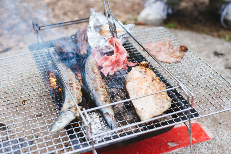 Hanami BBQ, Akatsuka Park, Tokyo. Barbecue Barbecue Grill Close-up Day Dead Animal Fish Food Food And Drink Freshness Grilled Heat - Temperature High Angle View Meat Metal Metal Grate No People Outdoors Preparation  Roasted Seafood