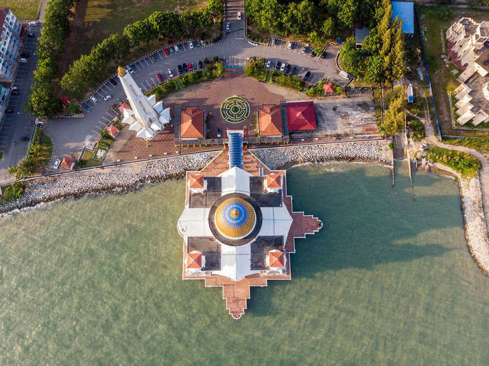 Malacca Straits Mosque, Malaysia Water Architecture High Angle View Nature Plant Built Structure Day Building Exterior Tree Outdoors Sunlight Building Travel Tourism Garden Park Melaka Malacca Malaysia ASIA Mosque Melaka Straits Mosque Drone  Droneshot