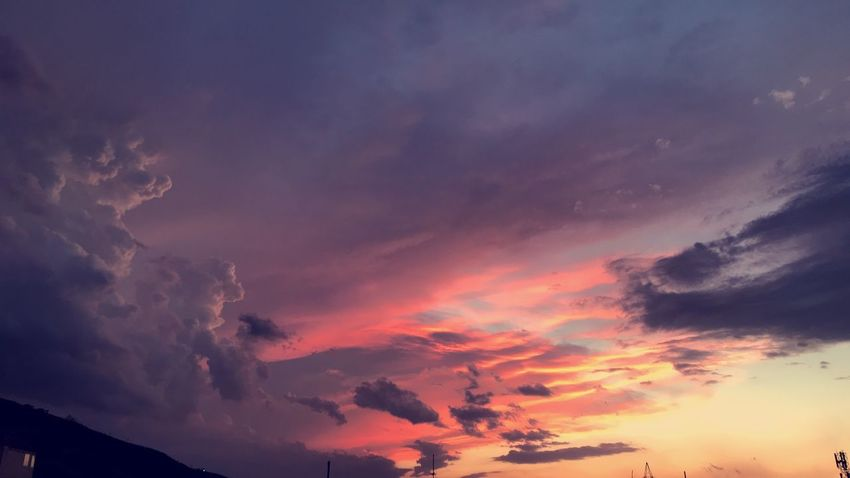 Cloud - Sky Sky Beauty In Nature Scenics - Nature Sunset Tranquil Scene Tranquility Low Angle View Outdoors Pink Color Idyllic Atmospheric Mood Environment Dramatic Sky Silhouette Cloudscape Orange Color Nature No People Purple
