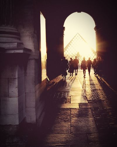 Architecture People Travel Destinations City Sunset Arch Paris Louvre Contrast Light And Shadow Light Shadow Reflection