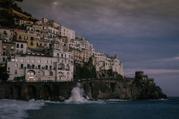 Amalfi Coast Italy Sunset Sundown Coastline Coastline Landscape Sea Water Architecture Building Exterior Built Structure Sky City Waterfront Wave Power In Nature Beauty In Nature Nature Cliffs Small Town Italia