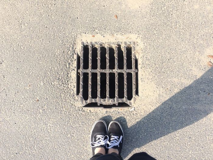 Low Section Of Man Standing By Manhole