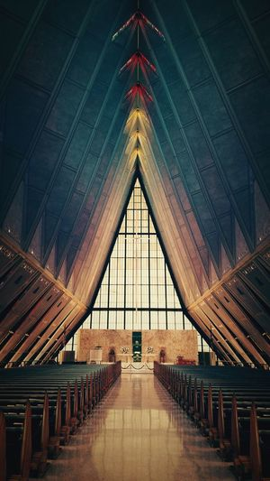 The Interior of the U.S. Air Force Academy Chapel. Church Getting Inspired Taking Photos Architecture Cellphone Photography Leading Lines USA USAF Open Edit