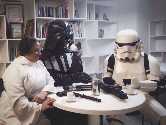 "Just a coffe, waiting for the ""force awakens"".. Starwars Darthvader Stormtrooper Venezuela"