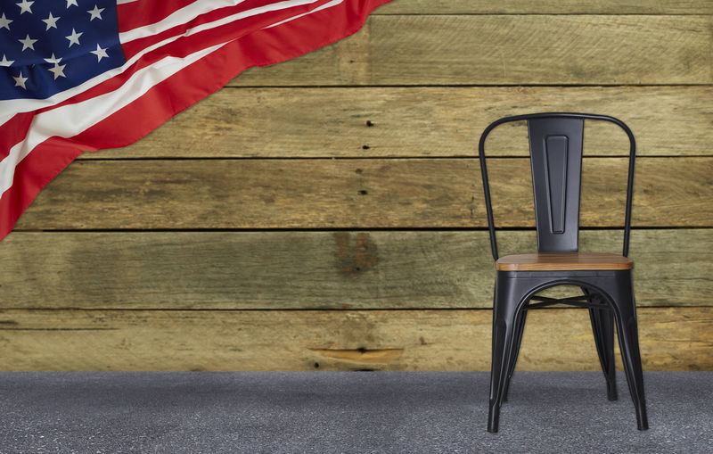 flag of the USA with black steel chair wall wood, American National Day Concept background Flag American Chair USA White America Patriotic United States Holiday July Blue Red Symbol Day Old Patriotism Veteran Wooden Decoration Guitar Rocking Home Garden Chairs Military Background Army National Vintage Lifestyle Wood Stars Pride Independence Wall Grass Summer Style Rustic Outdoor Seat Empty No People Wood - Material Table Absence Striped Wall - Building Feature Indoors  Still Life National Icon