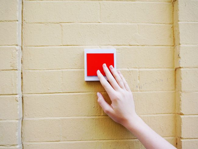 Gridlove Big Red Button Panic Button Push Button Red Human Hand Push Push My Buttons Light Switch Paint The Town Yellow