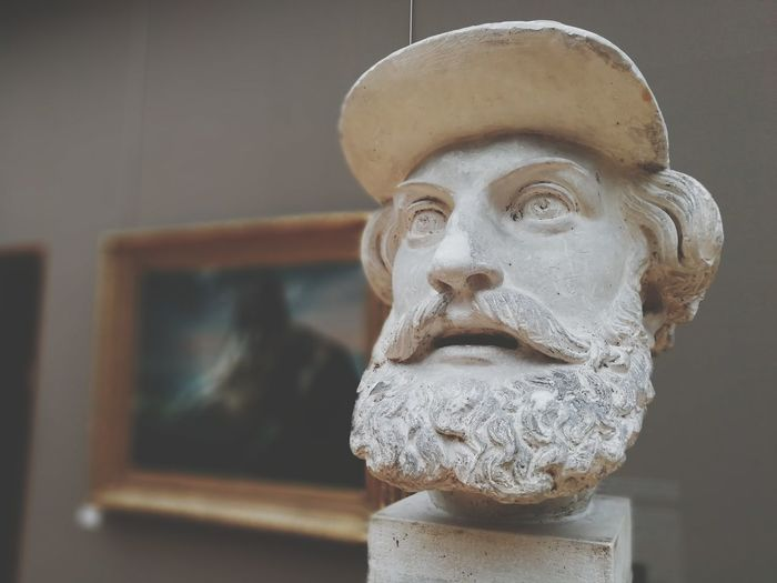 Close-up of male bust in museum