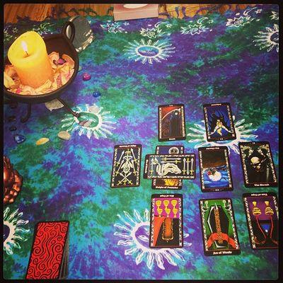 Wickcandle Holywater  Tarot Tarotdeck tarotcards tarotreader tarotreadings tarotbykatlynn tarotcloth psychic empath rosepetals tissuebox sun moon question questionreading