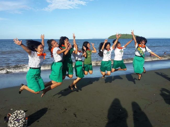 Beach Fun Jumpshots Girl Power Girl Scout Friendship Beach Fun Sea Sunlight Full Length Dancing Music Happiness Water Lifestyles Sky Enjoyment People Cheerful Vacations Togetherness Leisure Activity Sand Smiling