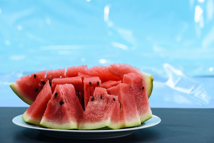 close up watermelon Close-up Day Focus On Foreground Food Food And Drink Freshness Fruit Healthy Eating Indoors  Juicy Melon No People Plate Ready-to-eat Red SLICE Still Life Table Temptation Watermelon Wellbeing