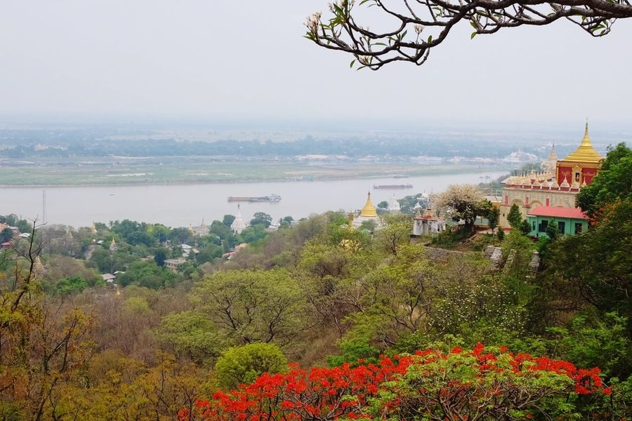 looking across Irrawaddy River River Myanmar Myanmarphotos Sagaing Mandalay Tree City Flower Cityscape Water Fog Sky Landscape Plant In Bloom Overcast Blooming