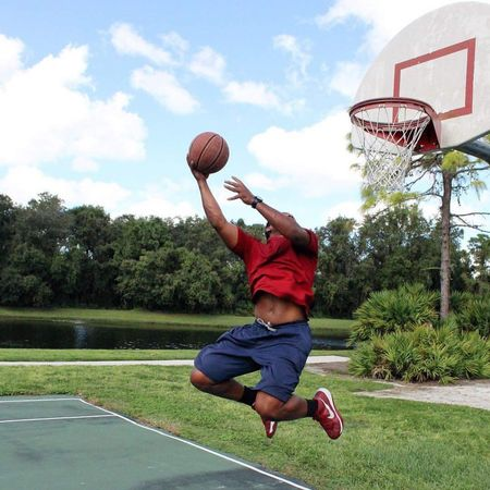 Basketball - Sport Full Length Sport Jumping Activity Ball Basketball Hoop One Person Motion Leisure Activity Child Males  Playing One Boy Only Competition Childhood Children Only Outdoors Tree People Dunk 360 Athletic