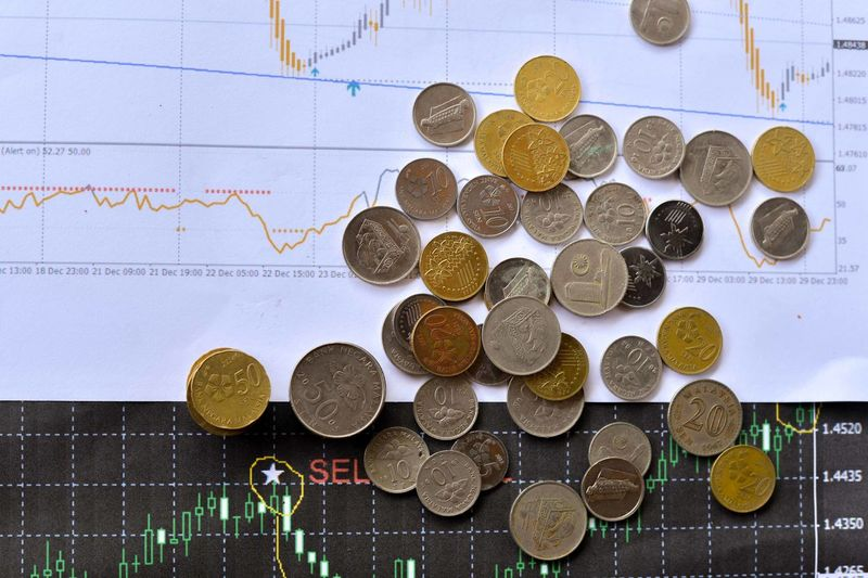 Mixed Malaysian Ringgit coins on financial graph background. Business concept. Bitcoin and Forex trading investment concept. Chart Close-up Coin Currency Day Finance Graph Indoors  No People