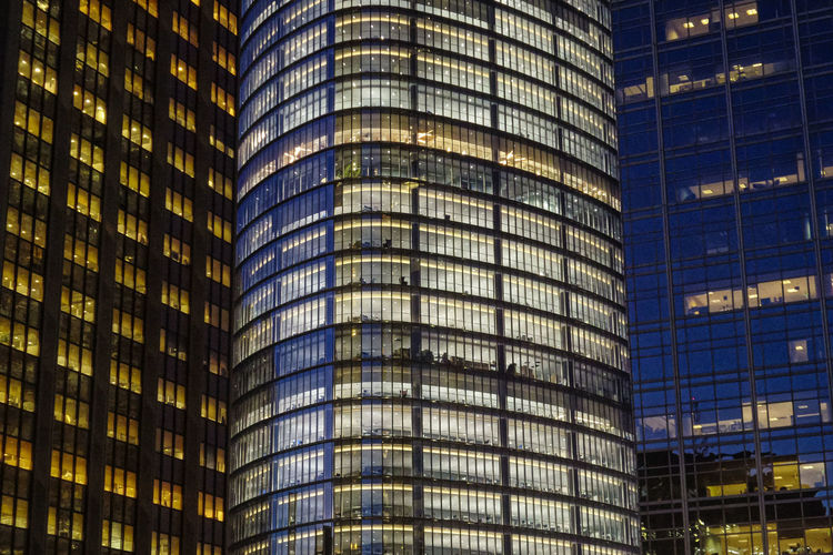 Architecture Building Exterior City Built Structure Office Building Exterior Night Building Modern Illuminated Office No People Skyscraper Outdoors Travel Destinations Full Frame Reflection Glass - Material Business Backgrounds Government Financial District