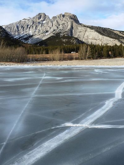 Somewhere In Alberta Sunday Drive Beautiful Nature Mountains Lakeside Hanging Out Walking On The Ice Methane Gas Bubbles Abraham Lake Alberta Outdoor Adventures Adventure Sunshine Cold Enjoying Life Frozen Bubbles Flammable Spectacular Ice Bubbles Incredible Outdoor Worth It