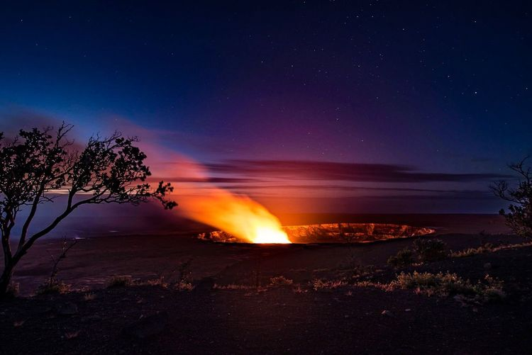 Dawn over the Kīlauea Lava Lake Night Beauty In Nature Star - Space Nature Heat - Temperature Sky Long Exposure Outdoors Scenics Landscape Water Moon No People Lava Astronomy Galaxy Eyem Best Shots Nature_collection EyeEm Nature Lover Kilauea Hawai'i Big Island EyeEm Best Shots - Landscape Perspectives On Nature