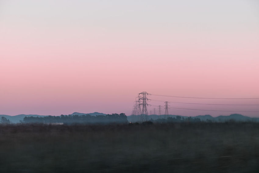 Beauty In Nature Electricity  Electricity Pylon EyeEm EyeEm Best Shots EyeEm Nature Lover Landscape Nature No People Outdoors Peace Pink And Green Relaxing Moments Relaxing Tones Scenics Sunset Tones Tranquility