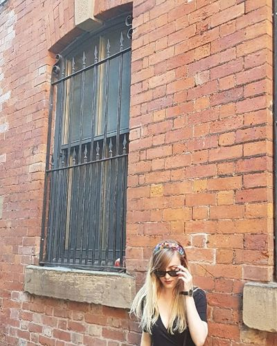 Blond Hair Long Hair Brick Wall