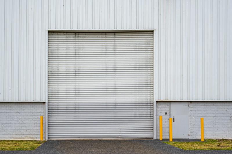 Closed door of industrial building