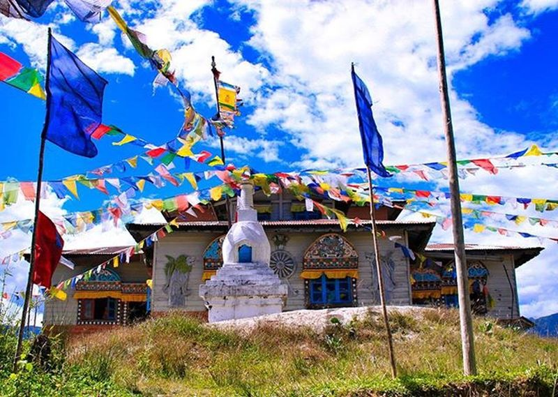 A 400-year-old Buddhist Monastery, which is located at a hilltop in the westernmost part of Menchukha. Menchuka ArunachalPradesh IndiaTrail Buddhism Monastery