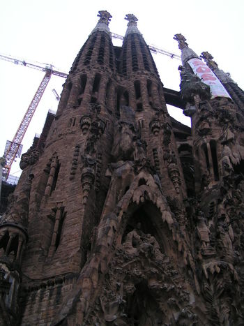 Sagrada Familia Barcelona Cathedral Gaudi Sacred Family Architecture Building Exterior Built Structure Catholic Church Crane - Construction Machinery Cubism No People Outdoors Place Of Worship Religion Sculpture Spirituality Statue Stone Sculptures Tower Bell Travel Destinations