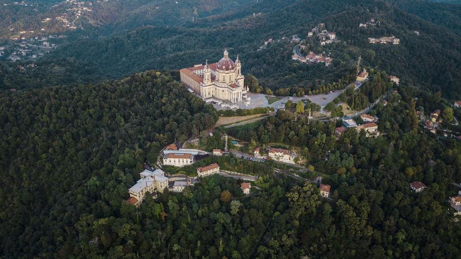 Aerial drone photograph of basilica superga, turin, italy.