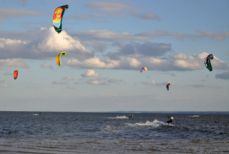 kitesurfing in Poland - the baltic sea coast Active Active Lifestyle  Blue Blue Sky Bright Color Color Of Sport Colorful Colors Kite Kite Flying Kite Surfing Kitesurf Kitesurfing Lifestyles Sky Sport Sports Sports Photography Vacations Watersports