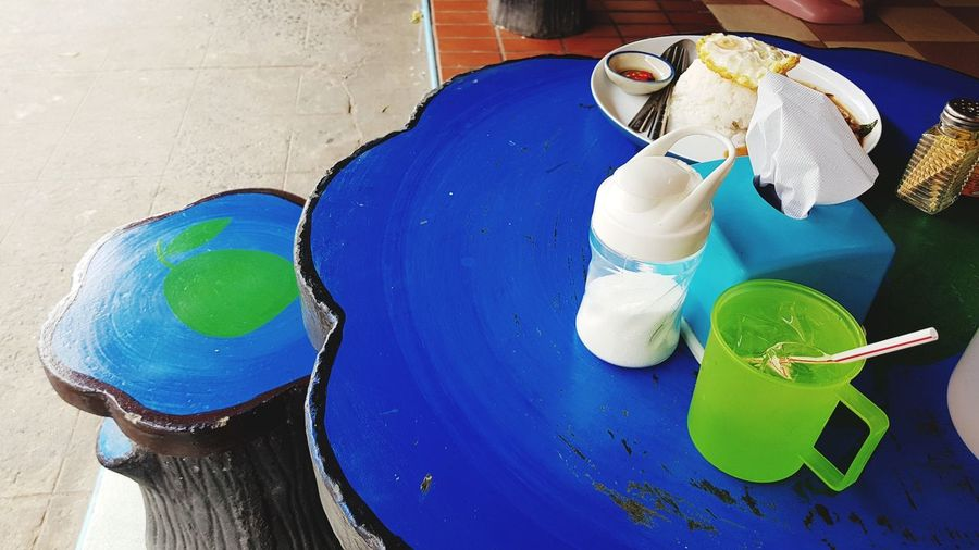 Thai street food seasoning set on fancy concrete table Thai Food Thai Street Food Orders Received Order Food Blue Table Blue Desk Thai Food Shop EyeEm Selects Multi Colored Table High Angle View Close-up Painted Oil Paint Art Art And Craft Oil Painting Served Prepared Food