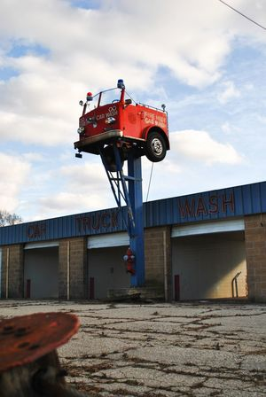 Building Exterior Car Wash Dilapitated Fire Truck Metal Sign No People Outdoors Steel Sculpture Minimalist Architecture