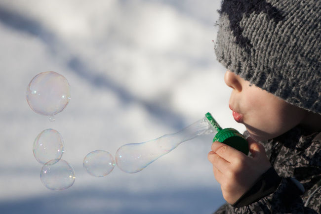 Blooming Bubble Wand Bubbles Child Childhood Cold Fragile Hat Headshot Leisure Activity Nature One Boy Only Playing Puff Snow Snow ❄ Winter
