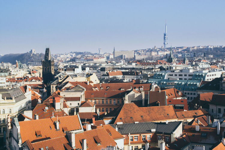 Cityscape of prague on a sunny and cold winter day with blue sky
