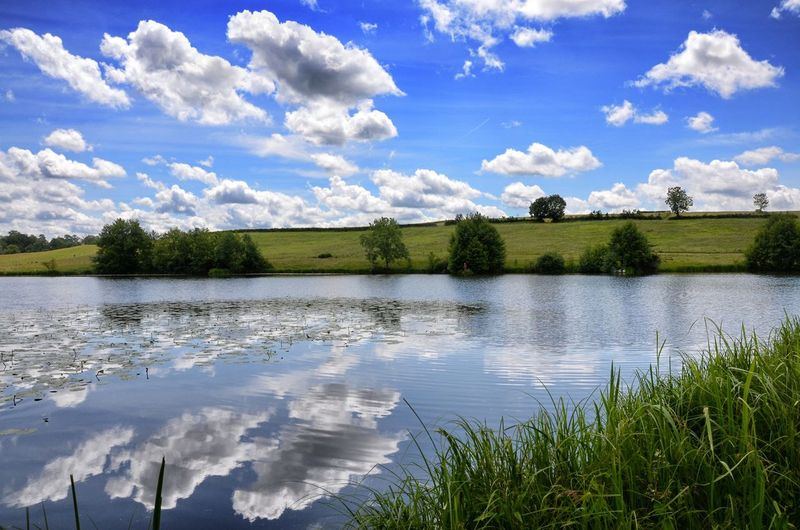 Blue Clouds Distant Grass Lake Landscape Majestic Morvan Nature Outdoors Scenics Sky Sky And Clouds Spring Summer Tranquil Scene Tranquility Water Water Reflections