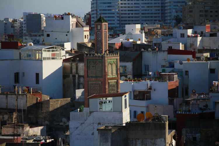 Place Of Worship Sunny Tangier Architecture Building Exterior Built Structure City Cityscape Day Minaret Modern Narrow Streets No People Outdoors Religion Residential Building Skyscraper Sunlight White Washed Building