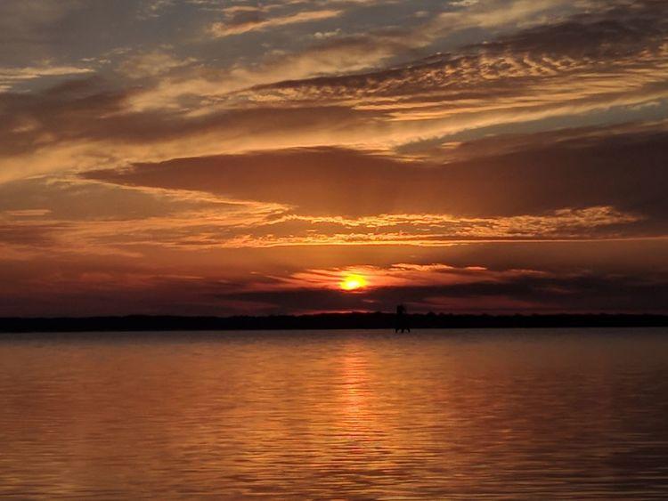 sunrise Sunset Reflection Dramatic Sky Orange Color Cloud - Sky Scenics Sea