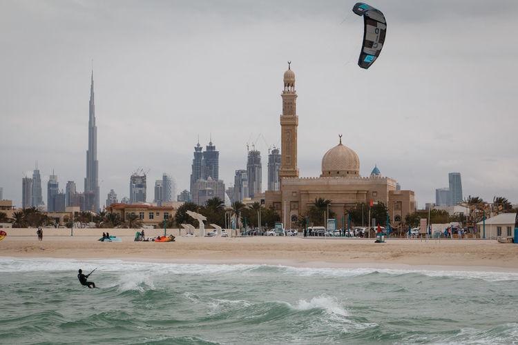 Building Exterior Burjkhalifa Beach Surfing Surf Surfer Skyline Dubai Cityscape Photography Cityscape EyeEmNewHere