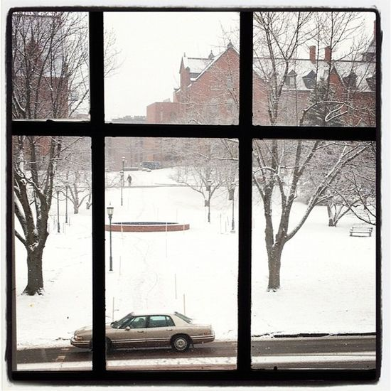 It's snowing out there! #btv #vt Uvm Vt_scenery Picture 802 Landscape Waterman Scenery Oldmill Winter Snow University Window Cold Pretty White Vermont Williams Vt Btv