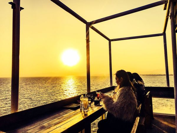 Sunset dining Sunset Sea Nature Sitting Horizon Over Water Scenics Beauty In Nature Clear Sky Sea And Sky Seaside Seascape Japan Photography Sunlight