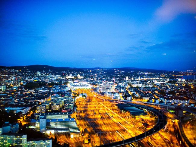Architecture Built Structure City High Angle View Illuminated Road Blue Connection Cityscape Transportation Building Exterior Night Sky No People City Life Outdoors Motion Nature