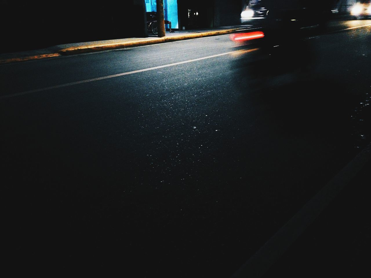 Blur Image Of Motorcycle On Road At Night