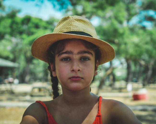 Portrait of girl wearing hat