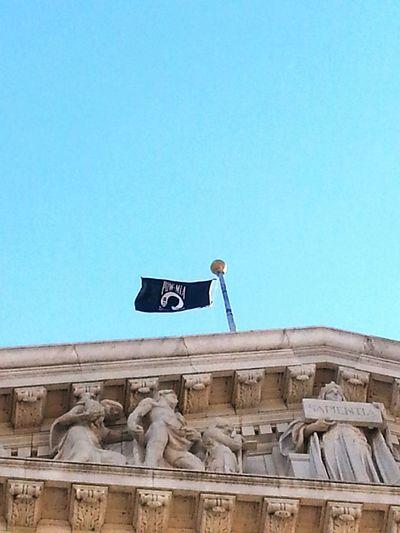 POW MIA Flag Negative Space Madison Wisconsin Capital Building